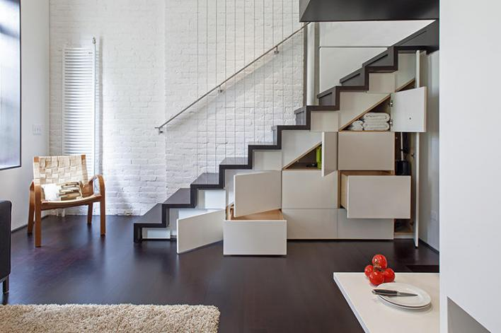 staircases with storage boxes