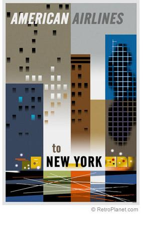 Vintage New York Travel Poster American Airlines
