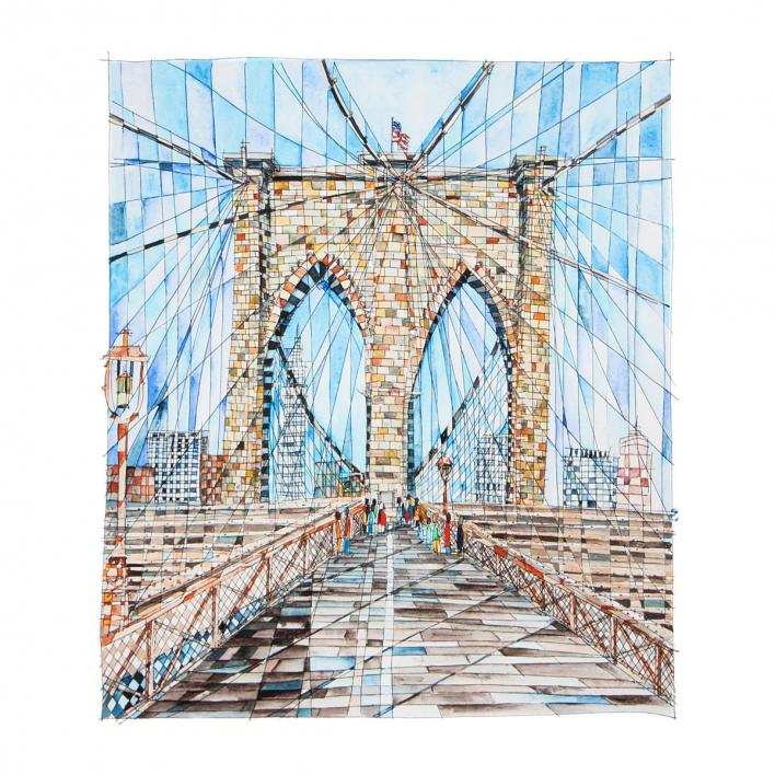 BROOKLYN BRIDGE | Watercolor Painting, New York