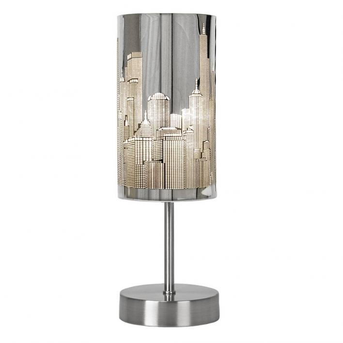 Modern Chrome Touch Table Lamp with New York Skyline Shade