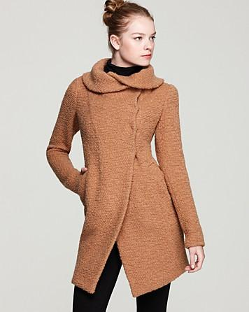 Dawn Levy Adelaide Bouclé Knit Coat with Shawl Collar