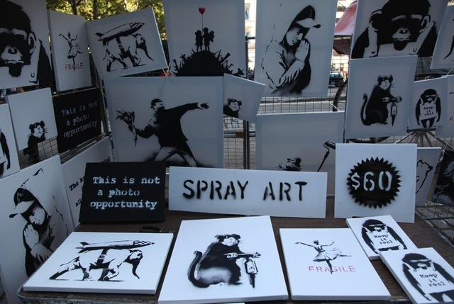 Day 13: Spray Art for Sale Ignored in a Stall at Central Park