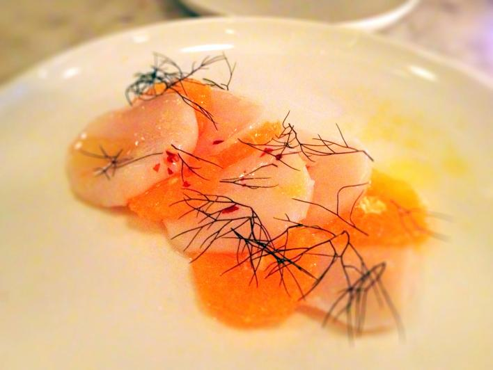Estela Raw Scallop with citrus and bronze fennel