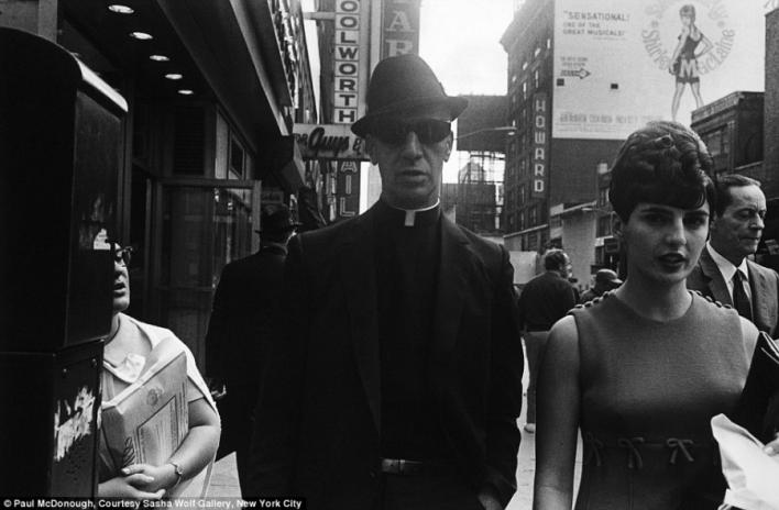 New York priest with dark sunglasses