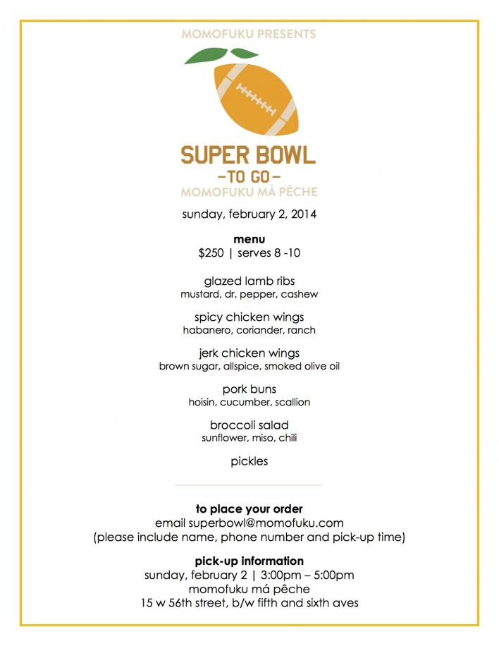 ma peche superbowl menu