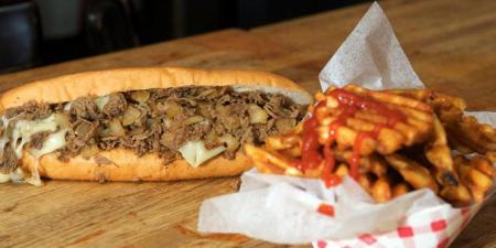 Philly Cheesesteak and Waffle Fries