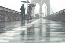 Rainy day on brooklyn bridge