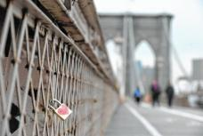 Love padlock on Brooklyn Bridge
