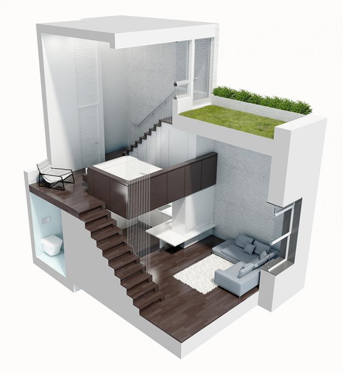Micro loft 3D render