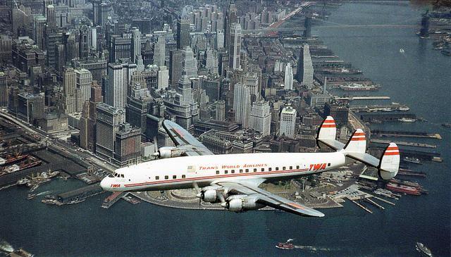 TWA Flight Over Lower Manhattan - 1953