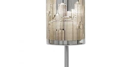 Modern Chrome Touch Table Lamp with New York Skyline Shade